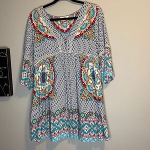 UMGEE boho bell sleeve v-neck mini dress sz SMall
